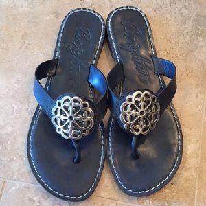 Brighton Alice Sandals Navy Blue Leather